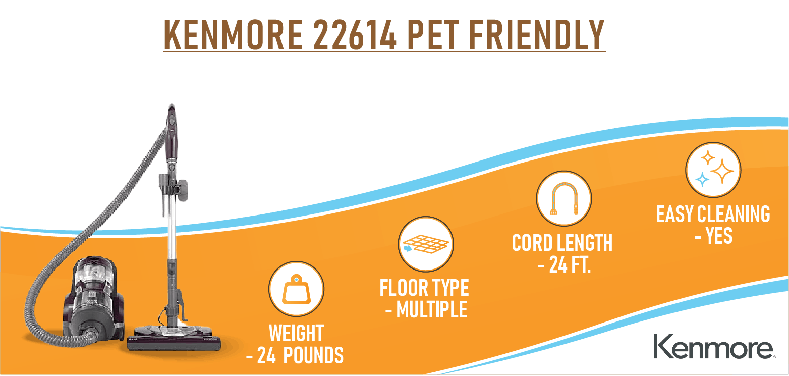 Kenmore 22614 Pet Friendly Vacuum - Canister Vacuum For Pet Hair